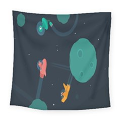 Space Illustration Irrational Race Galaxy Planet Blue Sky Star Ufo Square Tapestry (large)