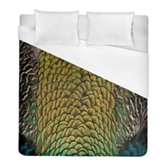 Peacock Bird Feather Gold Blue Brown Duvet Cover (full/ Double Size) by Alisyart