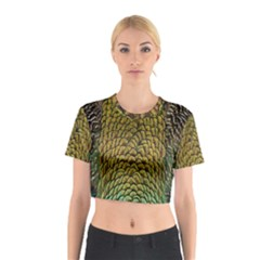 Peacock Bird Feather Gold Blue Brown Cotton Crop Top