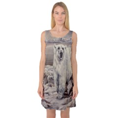 Polar Bear Sleeveless Satin Nightdress