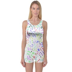 Prismatic Musical Heart Love Notes Rainbow One Piece Boyleg Swimsuit