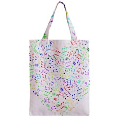 Prismatic Musical Heart Love Notes Rainbow Zipper Classic Tote Bag