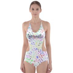 Prismatic Musical Heart Love Notes Rainbow Cut Out One Piece Swimsuit