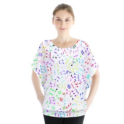 Prismatic Musical Heart Love Notes Rainbow Blouse by Alisyart
