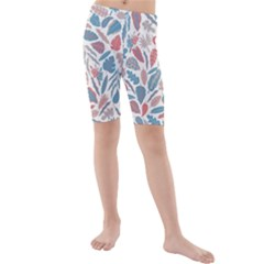 Spencer Leaf Floral Purple Pink Blue Rainbow Kids  Mid Length Swim Shorts by Alisyart