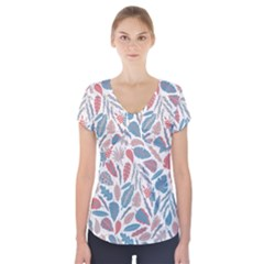 Spencer Leaf Floral Purple Pink Blue Rainbow Short Sleeve Front Detail Top by Alisyart