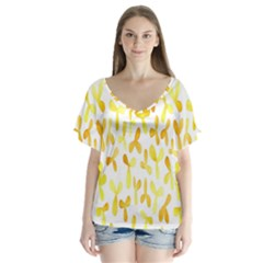 Springtime Yellow Helicopter Flutter Sleeve Top