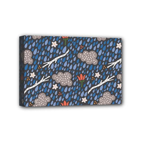 Spring Flower Floral Rose Rain Blue Grey Cloud Water Mini Canvas 6  X 4  by Alisyart