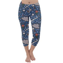 Spring Flower Floral Rose Rain Blue Grey Cloud Water Capri Winter Leggings  by Alisyart