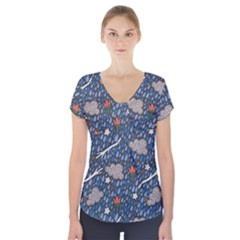 Spring Flower Floral Rose Rain Blue Grey Cloud Water Short Sleeve Front Detail Top