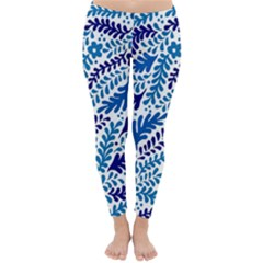 Spring Flower Leaf Blue Classic Winter Leggings