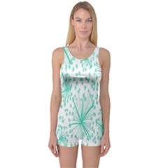 Spring Floral Green Flower One Piece Boyleg Swimsuit