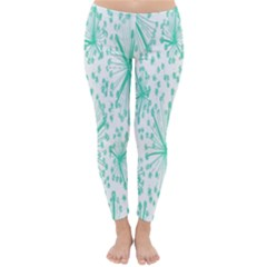 Spring Floral Green Flower Classic Winter Leggings