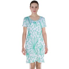 Spring Floral Green Flower Short Sleeve Nightdress