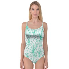 Spring Floral Green Flower Camisole Leotard