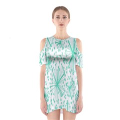 Spring Floral Green Flower Shoulder Cutout One Piece
