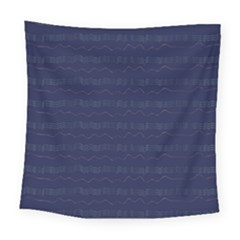 Summers Night Wave Chevron Blue Square Tapestry (large)