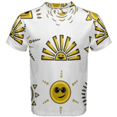 Sun Expression Smile Face Yellow Men s Cotton Tee