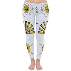 Sun Expression Smile Face Yellow Classic Winter Leggings