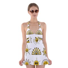 Sun Expression Smile Face Yellow Halter Swimsuit Dress