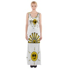 Sun Expression Smile Face Yellow Maxi Thigh Split Dress