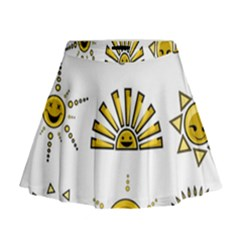 Sun Expression Smile Face Yellow Mini Flare Skirt