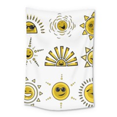 Sun Expression Smile Face Yellow Small Tapestry