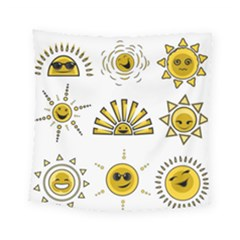 Sun Expression Smile Face Yellow Square Tapestry (small)