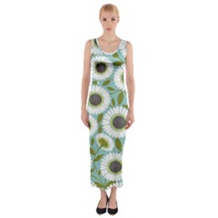 Sunflower Flower Floral Fitted Maxi Dress
