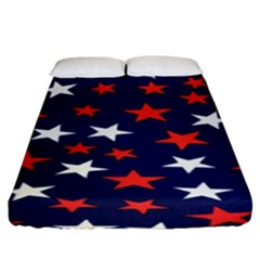 Star Red White Blue Sky Space Fitted Sheet (king Size)