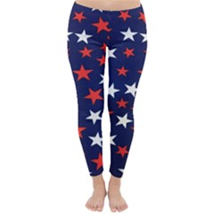 Star Red White Blue Sky Space Classic Winter Leggings