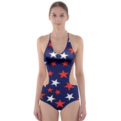 Star Red White Blue Sky Space Cut Out One Piece Swimsuit