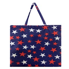 Star Red White Blue Sky Space Zipper Large Tote Bag