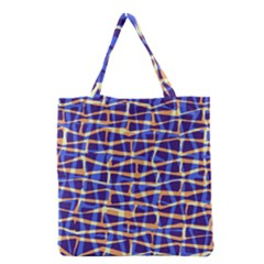 Surface Pattern Net Chevron Brown Blue Plaid Grocery Tote Bag by Alisyart