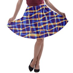 Surface Pattern Net Chevron Brown Blue Plaid A Line Skater Skirt