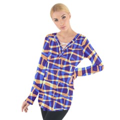 Surface Pattern Net Chevron Brown Blue Plaid Women s Tie Up Tee