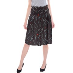 Tree Twigs Spot Blue Grey Midi Beach Skirt