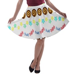 Sunflower Plaid Candy Star Cocolate Love Heart A-line Skater Skirt by Alisyart