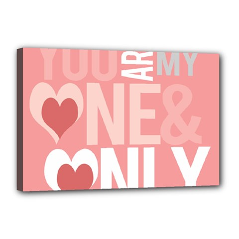 Valentines Day One Only Pink Heart Canvas 18  X 12  by Alisyart