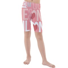 Valentines Day One Only Pink Heart Kids  Mid Length Swim Shorts