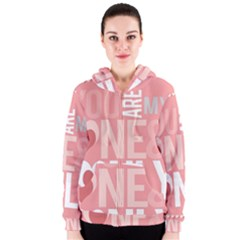 Valentines Day One Only Pink Heart Women s Zipper Hoodie