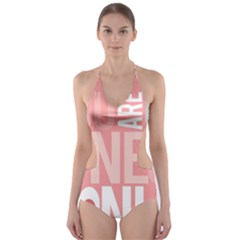 Valentines Day One Only Pink Heart Cut Out One Piece Swimsuit