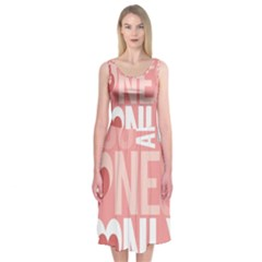 Valentines Day One Only Pink Heart Midi Sleeveless Dress