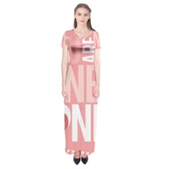 Valentines Day One Only Pink Heart Short Sleeve Maxi Dress