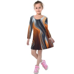 Fractal Structure Mathematic Kids  Long Sleeve Velvet Dress by Amaryn4rt