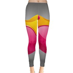 Valentine Heart Having Transparency Effect Pink Yellow Leggings