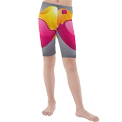 Valentine Heart Having Transparency Effect Pink Yellow Kids  Mid Length Swim Shorts
