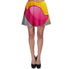 Valentine Heart Having Transparency Effect Pink Yellow Skater Skirt