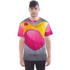 Valentine Heart Having Transparency Effect Pink Yellow Men s Sport Mesh Tee