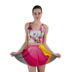 Valentine Heart Having Transparency Effect Pink Yellow Mini Skirt